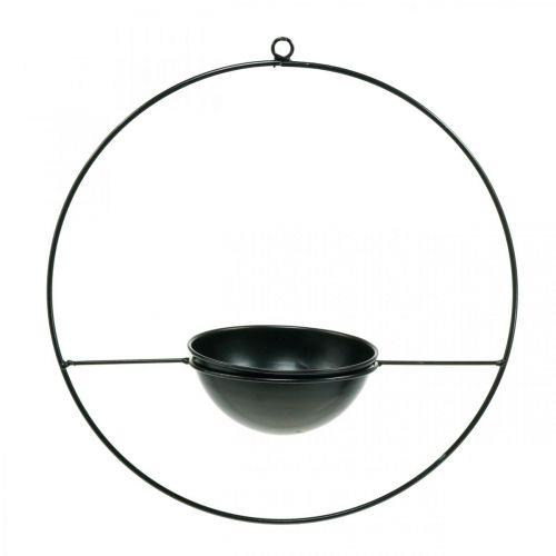 Pflanztopf zum Hängen Schwarz Metall Ring Ø38cm mit Schale Ø15cm