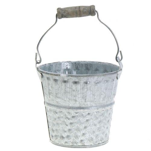 Zinkeimer mit Flechtmuster Grau, Weiß gewaschen Ø14cm H13cm 4St