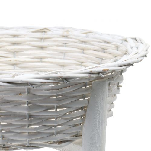 Korbschale mit Holzständer Weiß Ø40cm H10cm