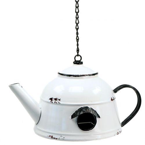 Nistkasten Teekessel Vintage Weiß, Schwarz H17cm