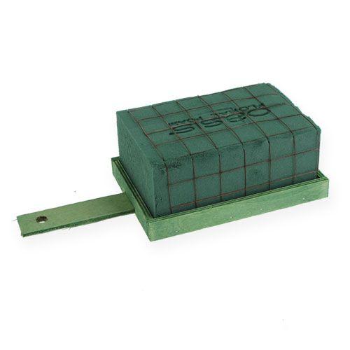 Steckschaum Ziegel Grün Metall Holz 4St Gesteckunterlage