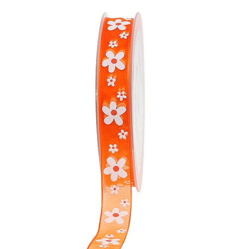 Organzaband Orange mit Blumenmotiv 15mm 20m