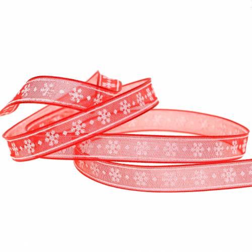 Organzaband mit Schneeflocke Rot 10mm 20m