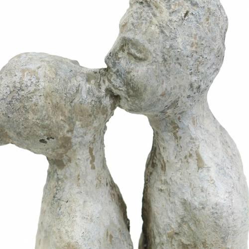 Dekofigur Küssendes Paar Steinguss Grau 10×8cm H28cm