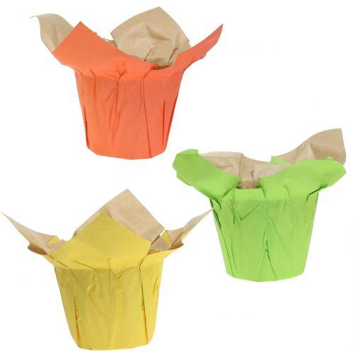 Übertöpfe aus Papier Grün, Orange, Gelb Ø12cm 12St