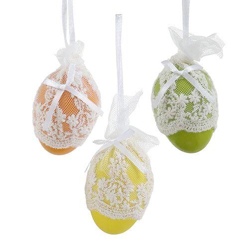 Plastik Deko-Eier mit Tüll zum Hängen 6cm 6St