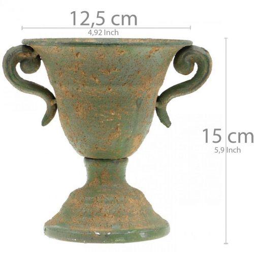 Metall-Amphore, Pflanz-Pokal, Kelch mit Henkeln Ø12,5cm H15cm