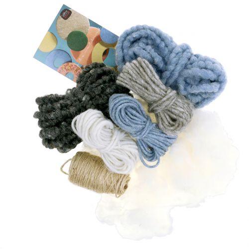Bastelset Lehner Wolle Blau/Grau/Natur