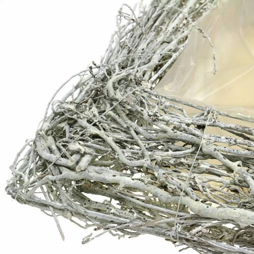 Pflanzkissen Zweige Weiß gewaschen 40cm x 40cm H10cm