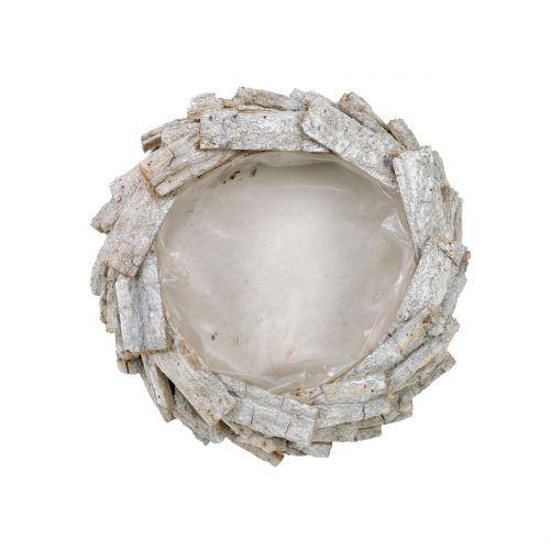Rindenschale Weiß gewaschen Ø25cm H9cm