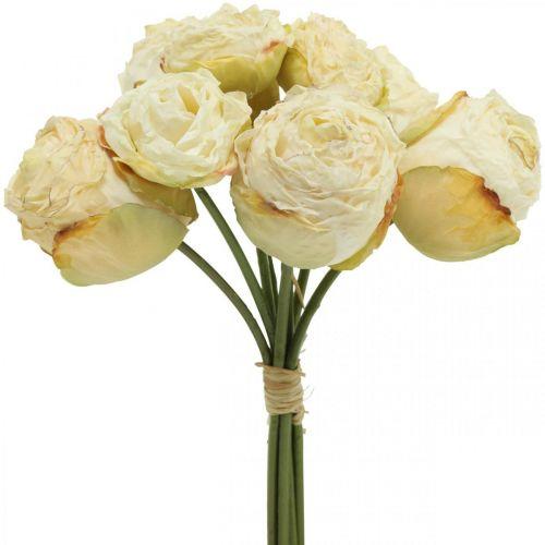 Künstliche Rosen, Seidenblumen, Rosenbund Cremeweiss L23cm 8St