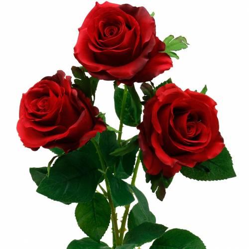 Rote Rose Kunstrosen Seidenblumen 3St