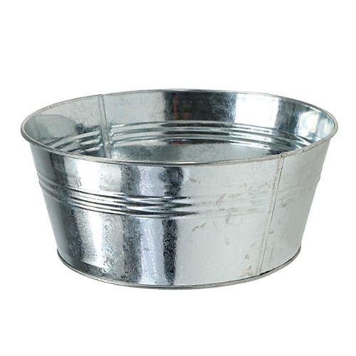 Blechschale rund silber gl nzend 22cm h9 5cm 6st kaufen for Glasvase bepflanzen