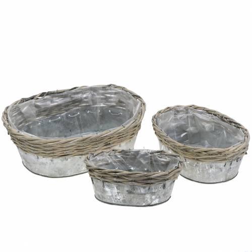 Zinkschale mit Korbgeflecht oval 20-32cm 3er-Set