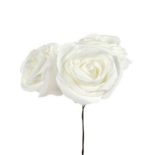 Schaumrosen Weiß mit Perlmutt Ø6cm 24St
