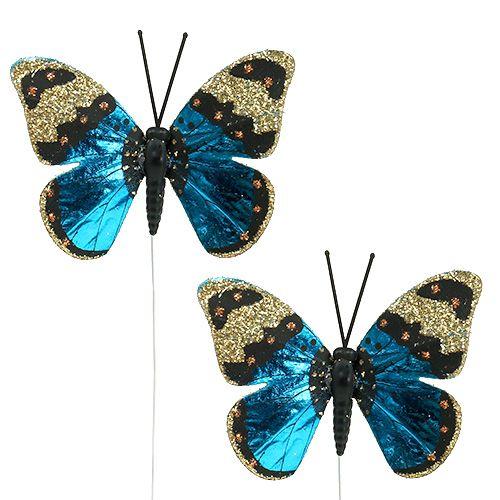 Schmetterling Blau 7,5cm glänzend 4St