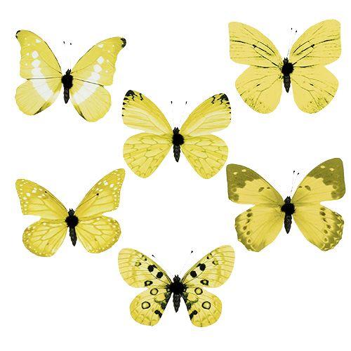Schmetterling Gelb am Clip 11cm 6St