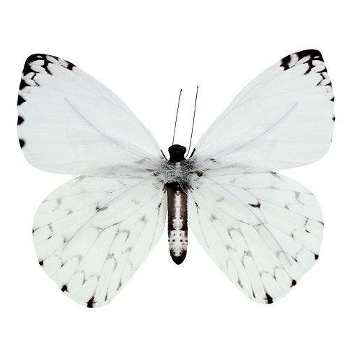 Schmetterling Weiß 20cm am Draht 2St