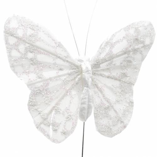 Federschmetterling mit Draht Weiß, Glitter 5cm 24St