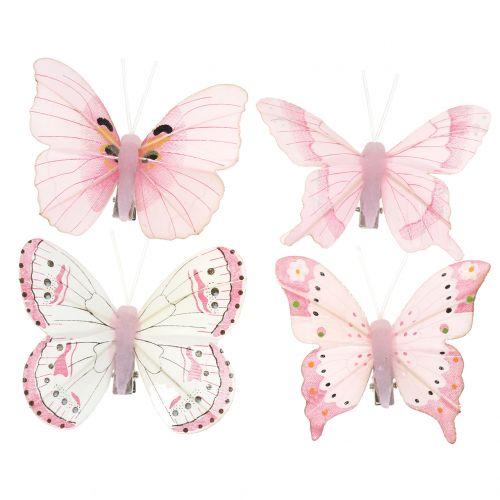 Schmetterling am Clip Rosa 8cm 8St