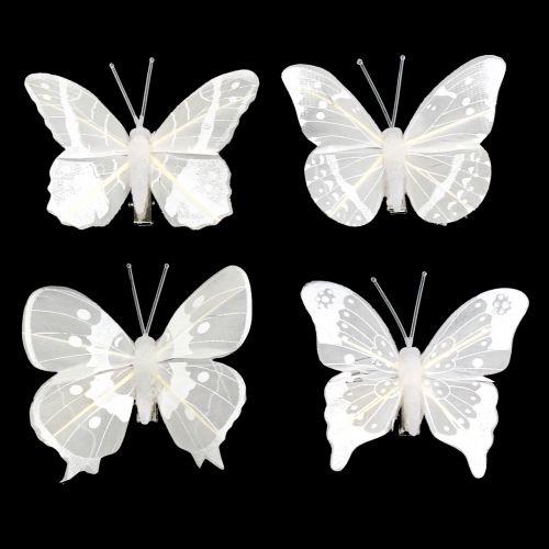 Schmetterling am Clip Weiß 8cm 8St