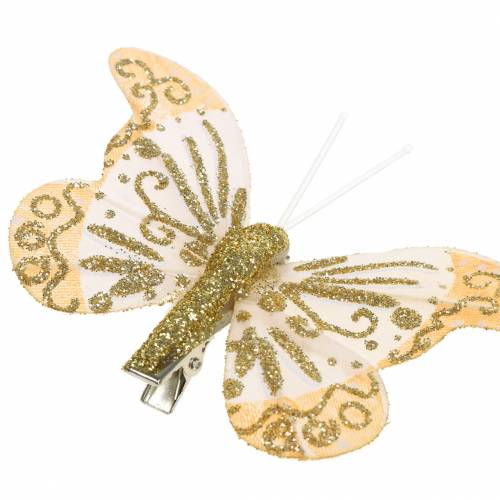 Federschmetterling am Clip Gold Glitzer 10St