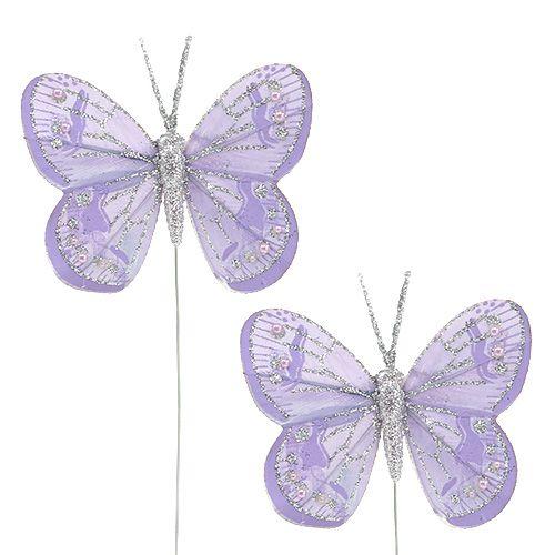Schmetterlinge 7cm Lila mit Glimmer 4St