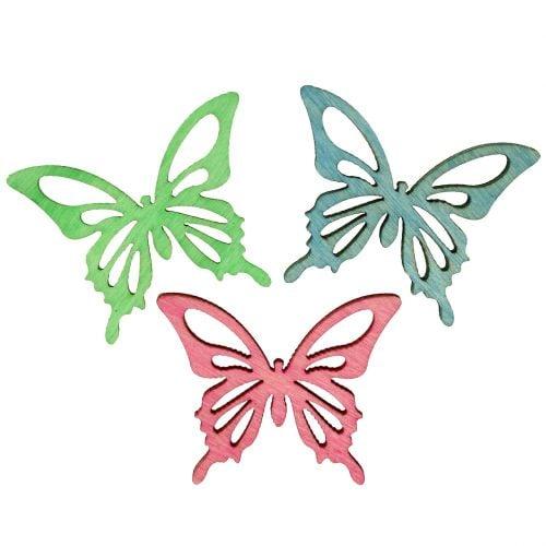 Schmetterlinge Mix Holz Rosa, Grün, Blau 4cm 72St