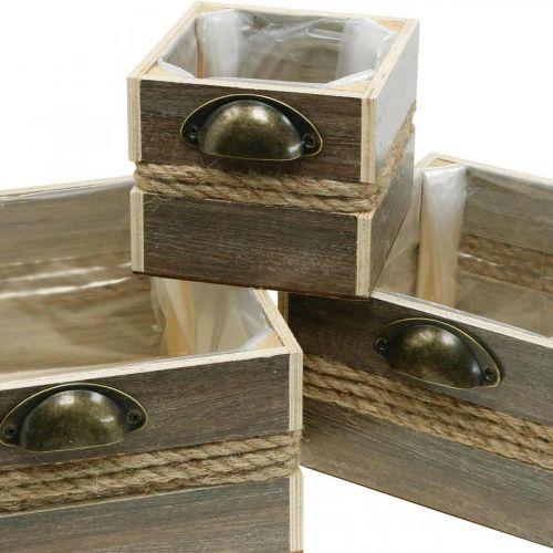 Pflanzkasten Holz-Schublade Blumenkasten 26/20/14cm 3er-Set