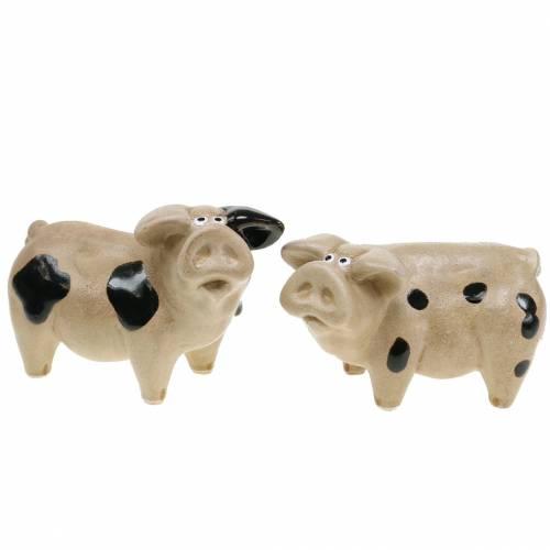Schwein gefleckt Keramik 11cm 2er-Set