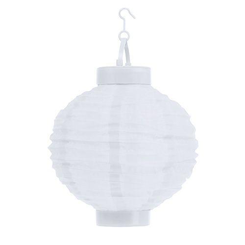Lampion LED mit Solar 20cm Weiß