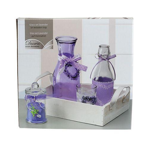 sommerdeko holztablett mit glas violett wei kaufen in schweiz. Black Bedroom Furniture Sets. Home Design Ideas
