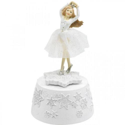 Spieluhr Ballerina Weiß Winterdeko Ø10,5cm H18,5cm