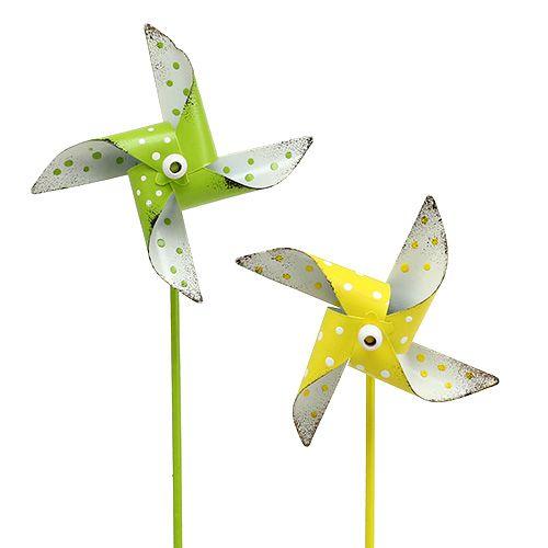 Windrad Blume im Topf silber weiß Windmühle Gartenstecker Gartendeko Garten Star