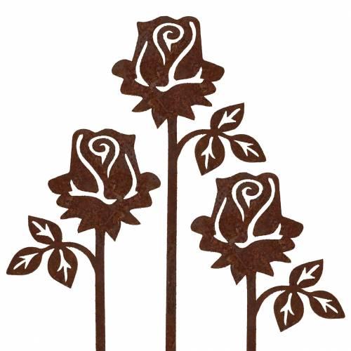 Metallstecker Rose Edelrost Metall 20cm × 11,5cm 8St