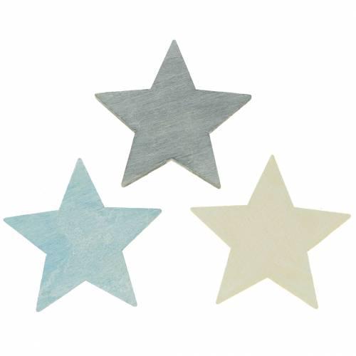 Streudeko Holzstern Blau/Grau/Weiß 4cm 72St