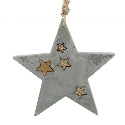 Weihnachtssterne zum Hängen aus Beton Grau-Gold 11,5cm 3St