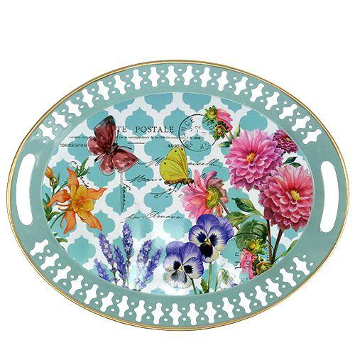 Tablett Blumenmotiv oval 42cm x 33cm