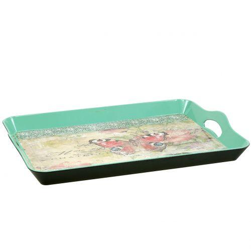 Tablett Vintage Schmetterling 44x30cm