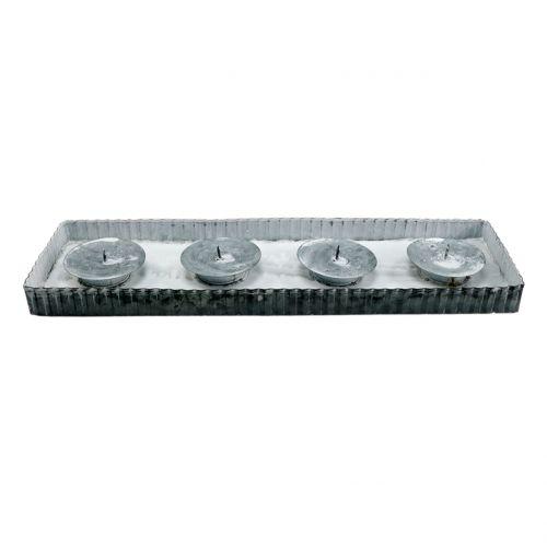 Tablett mit 4 Kerzenhalter Zink 40cm x 12,5cm 1St