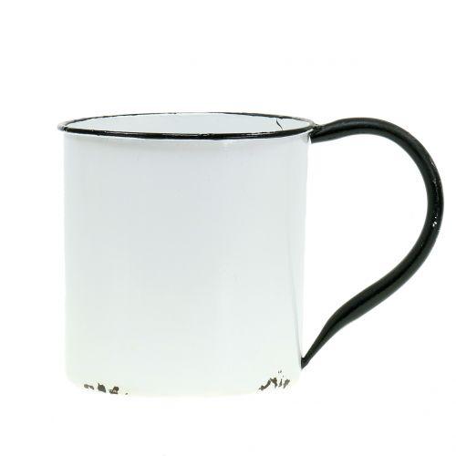 Pflanzgefäß Tasse aus Metall Vintage H13,5cm Ø15cm