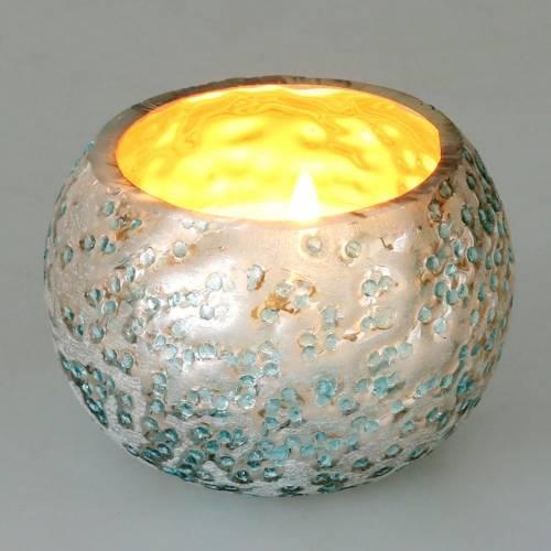 Windlicht aus Glas Silber Eisblau Ø8,5cm H6cm