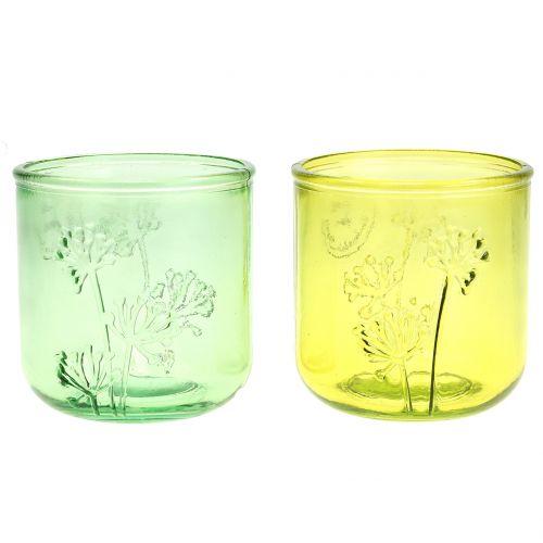 Deko Glas Windlicht Grün/Gelb Ø9cm H9cm 6St