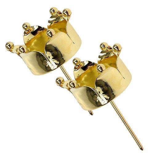 Teelichthalter Krone Gold Ø4,8cm 4St