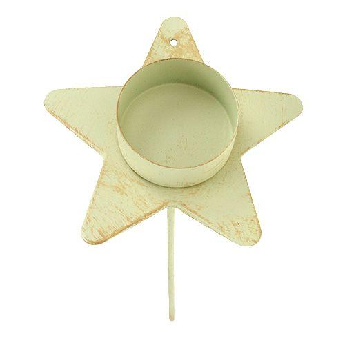 Teelichthalter Stern zum Stecken Creme 9x23,5cm 1St