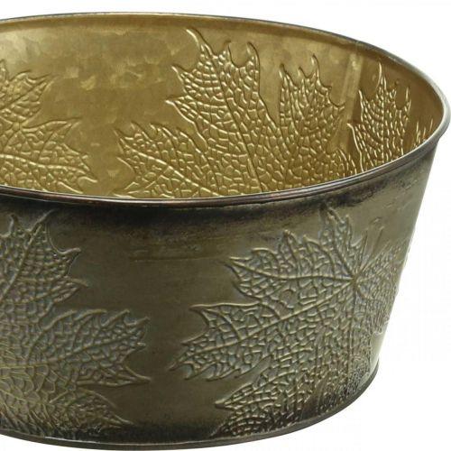 Herbstschale, Metalltopf mit Blattdeko, Pflanztopf Golden Ø25cm H10cm