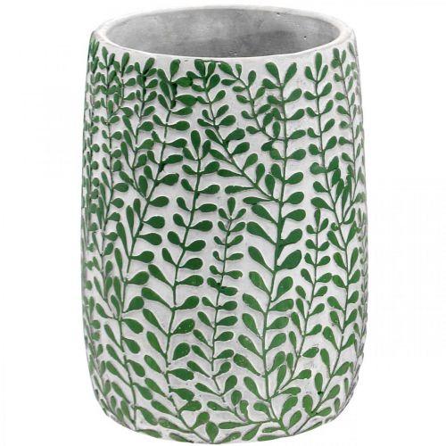Florale Deko-Vase, Keramikgefäß, Tischdeko, Beton-Optik Ø15,5cm H21cm
