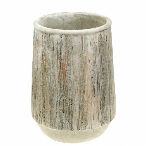 Übertopf Vase Beton Holzdesign Ø15cm H20,5cm