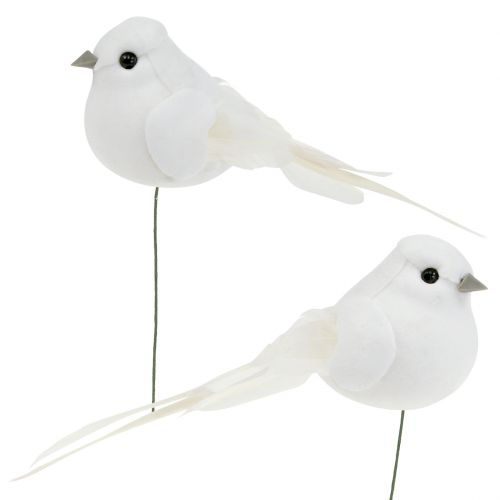 Vogel 14cm am Draht Weiß 6St kaufen in Schweiz