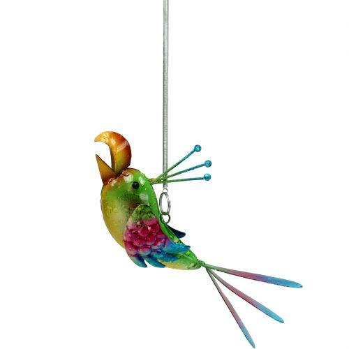 Vogel zum Hängen Grün, Pink, Blau 19,5cm